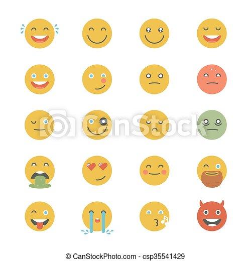 平ら, emoticons, セット, emoticons., emoji., collection., 別, icons., 顔, ベクトル, モノクローム, 微笑, style. - csp35541429