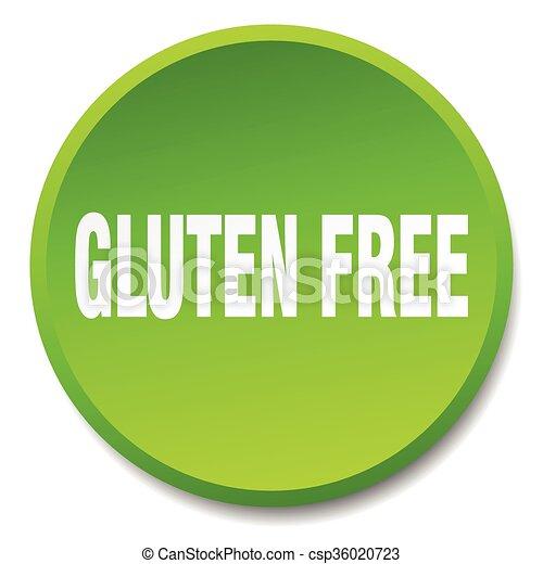 平ら, gluten, ボタン, 隔離された, 無料で, 緑, 押し, ラウンド - csp36020723