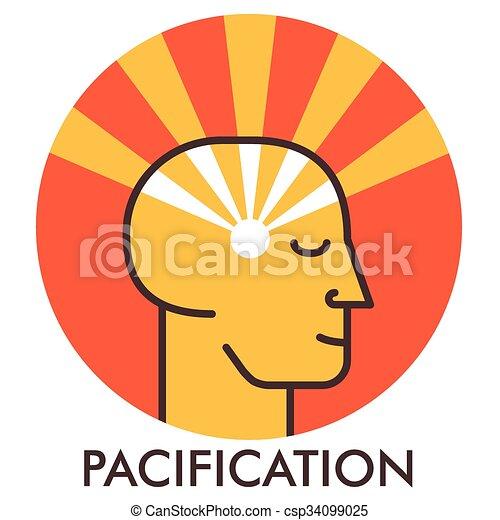 平ら, pacification., tranquility., elements., 甘い, concept., sunrise., デザイン, icon., 線, アイコン, face., design. - csp34099025