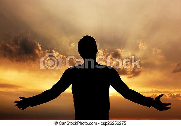 平和, 瞑想する, 祈ること, 日没, 調和, 人 - csp26256275