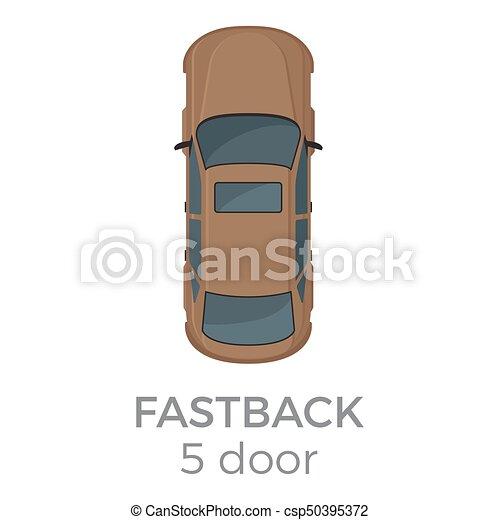 平坦な上面, ベクトル, 5, ドア, fastback, 光景, アイコン - csp50395372