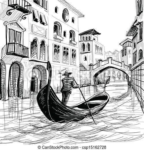 平底小船, 威尼斯, 矢量, 略述 - csp15162728