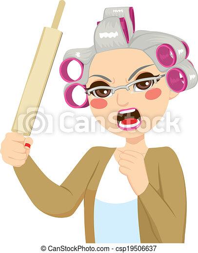 年長の 女性, 回転しなさい, ピン, 保有物 - csp19506637