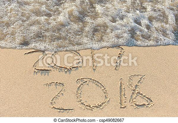 年, 新しい, テキスト, 2018, 浜 - csp49082667