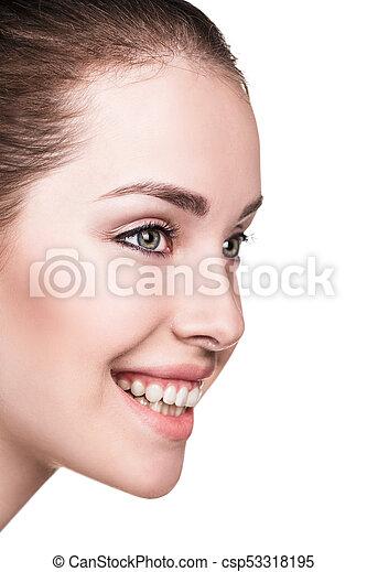 幸せな女性, 若い, きれいにしなさい, 皮膚 - csp53318195