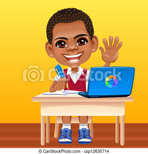 幸せな微笑すること, ベクトル, アフリカ, 男生徒 - csp12635714