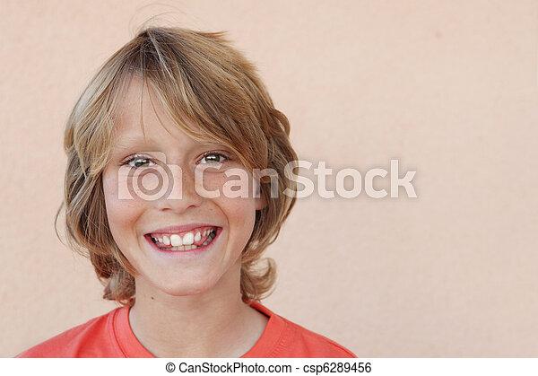 幸せな微笑すること, 子供, 顔 - csp6289456