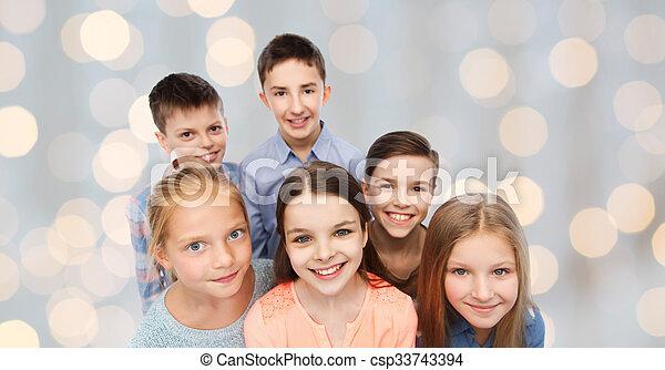 幸せに微笑する, 子供, 顔 - csp33743394