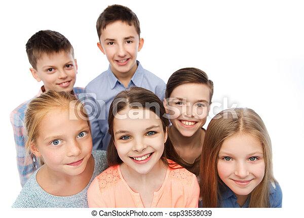 幸せに微笑する, 子供, 顔 - csp33538039