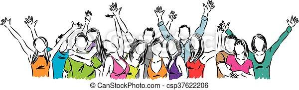 幸せ, グループ, イラスト, 人々 - csp37622206