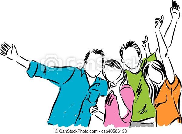 幸せ, グループ, イラスト, 人々 - csp40586133