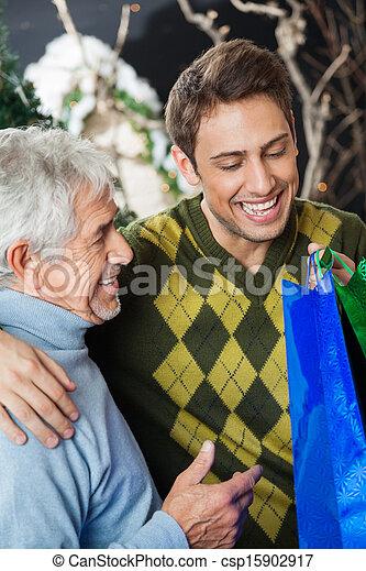 幸せ, サンタクロース, 店, 息子 - csp15902917