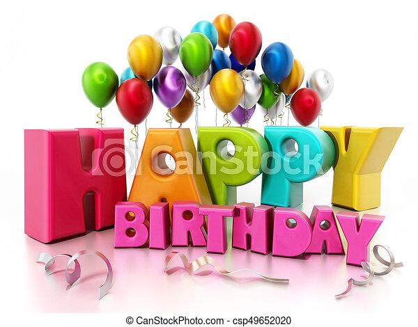 幸せ テキスト イラスト 誕生日パーティー Balloons 3d 幸せ