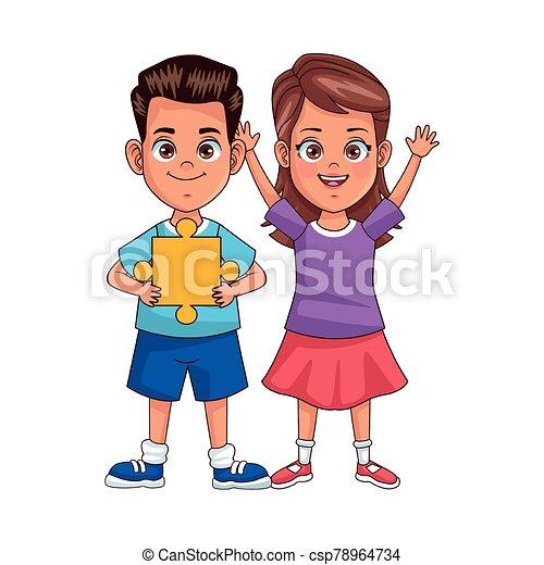 幸せ, 困惑, 子供, avatars, わずかしか, 特徴, 小片 - csp78964734
