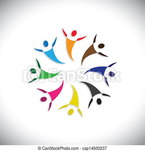 幸せ, 概念, のように, カラフルである, 人々, graphic-, &, 労働者, イラスト, 共用体, 共有, ベクトル, うれしい, icons(symbols)., 概念, ショー, 友情, 多様性, 遊び - csp14500237