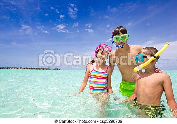 幸せ, 海洋, 子供 - csp5298789