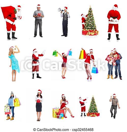 幸せ, collage., クリスマス, 人々 - csp32455468
