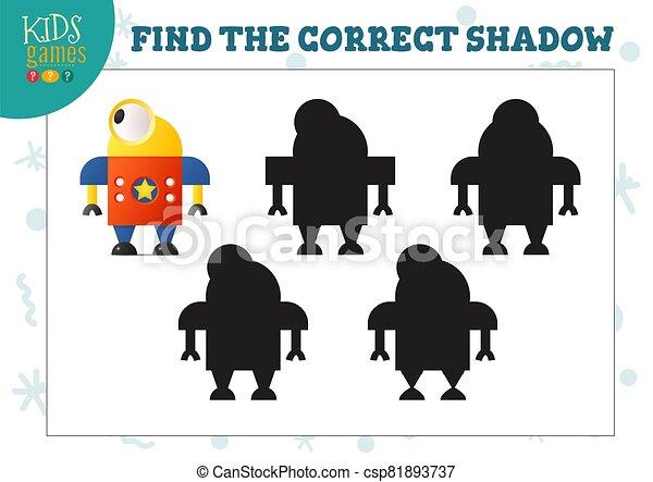幼稚園, ロボット, 教育, 影, ミニ, かわいい, ゲーム, ファインド, 漫画, 子供, 正しい - csp81893737