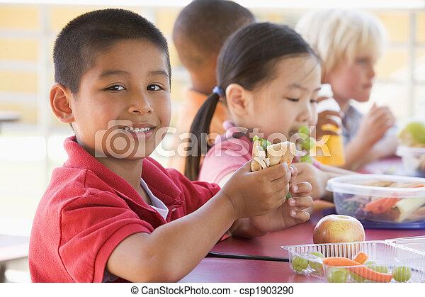幼稚園, 昼食, 食べること, 子供 - csp1903290