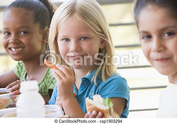 幼稚園, 昼食, 食べること, 子供 - csp1903294