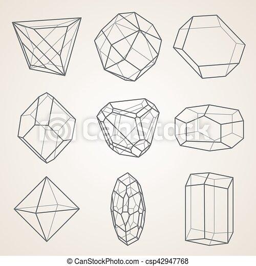 幾何学的, セット, crystals. - csp42947768