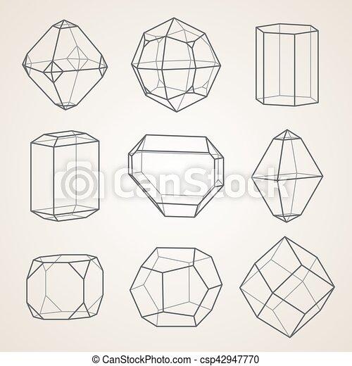 幾何学的, セット, crystals. - csp42947770