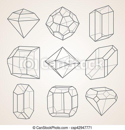 幾何学的, セット, crystals. - csp42947771
