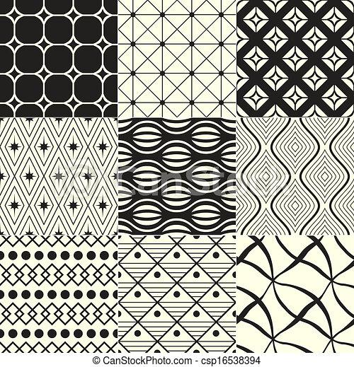 幾何学的, 黒, 白い背景, / - csp16538394