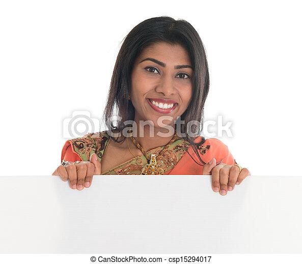 広告板, 女, indian, 保有物, ブランク - csp15294017