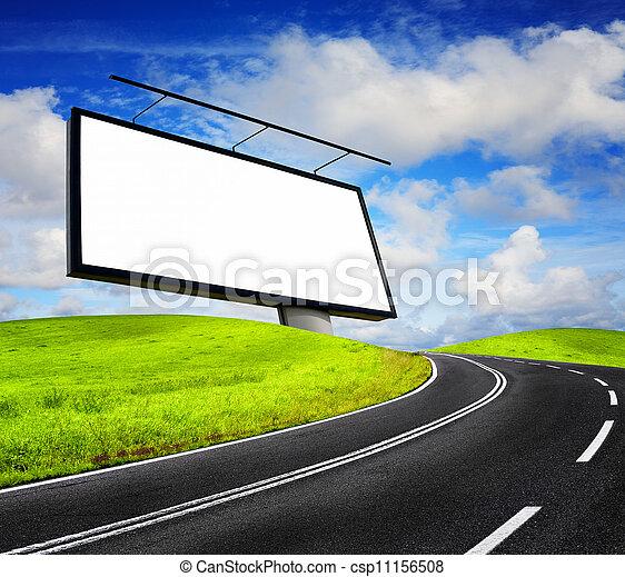広告板, 青い空, に対して, ブランク - csp11156508