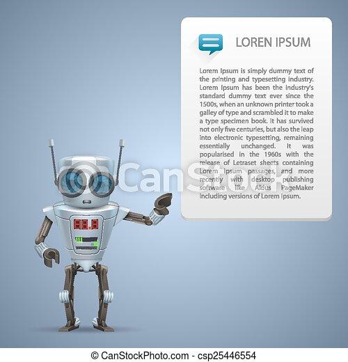 広告, ベクトル, 金属, ロボット - csp25446554