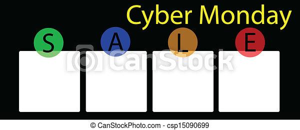 広場, 旗, cyber, 月曜日, ラベル - csp15090699