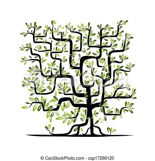 広場, 木, 形, 緑, デザイン, あなたの - csp17266120