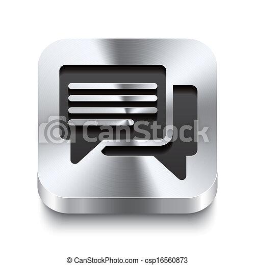 広場, 金属, ボタン, -, スピーチ, 泡, perspektive, アイコン - csp16560873
