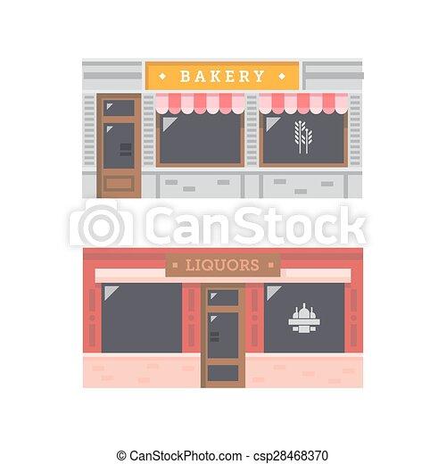 店の 前部, ファサド, デザイン, 平ら - csp28468370