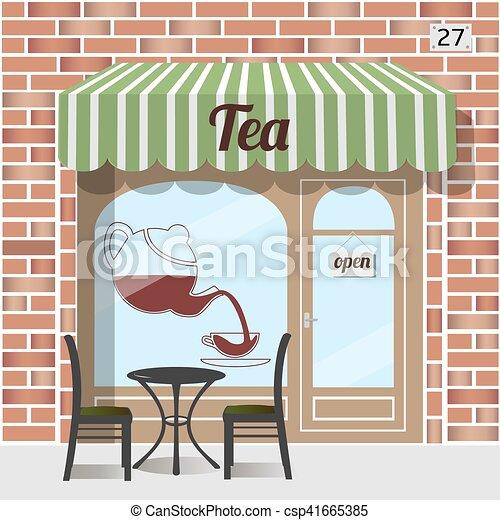店, お茶, facade. - csp41665385