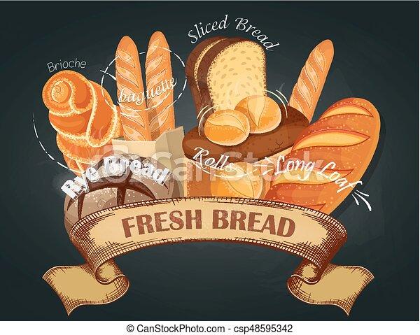 店 べーキング 決め付けること Bread Shop イラスト Emblem パン屋 ベクトル ラベル Assortment 新たに ロゴ Bread 旗 Canstock