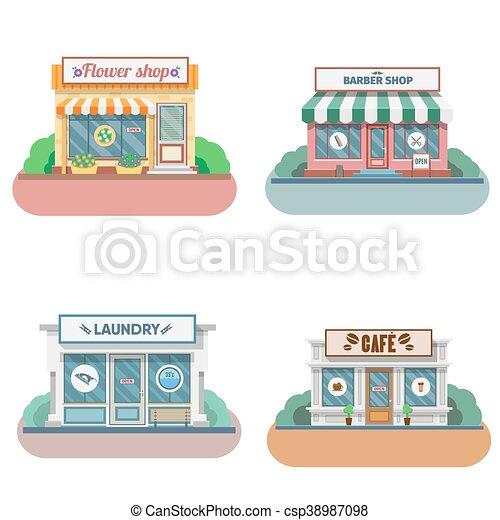 店, ファサド, セット, icons., ベクトル, デザイン, 平ら - csp38987098