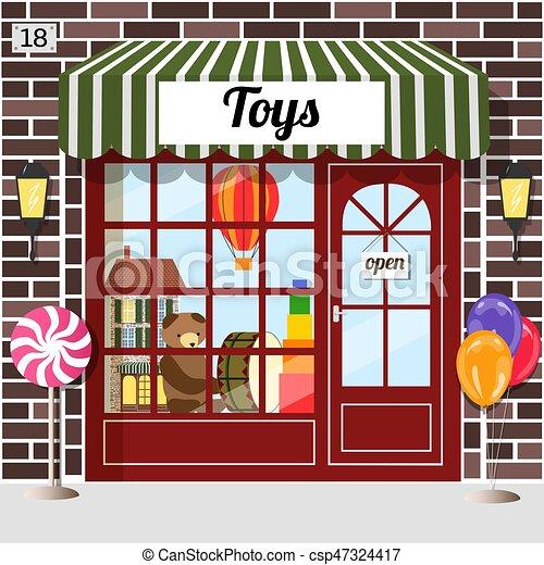 店, ブラウン, ファサド, brick., おもちゃ - csp47324417