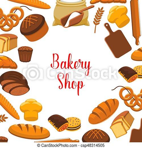 店 ポスター パン屋 ベクトル パンを焼いた 店 ピン ロールパン デザイン トースト Baguette Bread Bannocks ライ麦 ベーグル 小麦粉 小麦 ポスター 回転 Bread Loafs Canstock