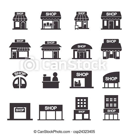 店, 建物, セット, アイコン - csp24323405