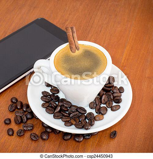店, 木製である, コーヒー, タブレット, テーブル - csp24450943