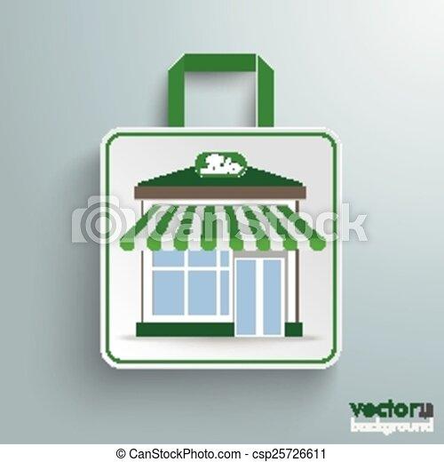 店, 買い物, 紙袋, bio - csp25726611