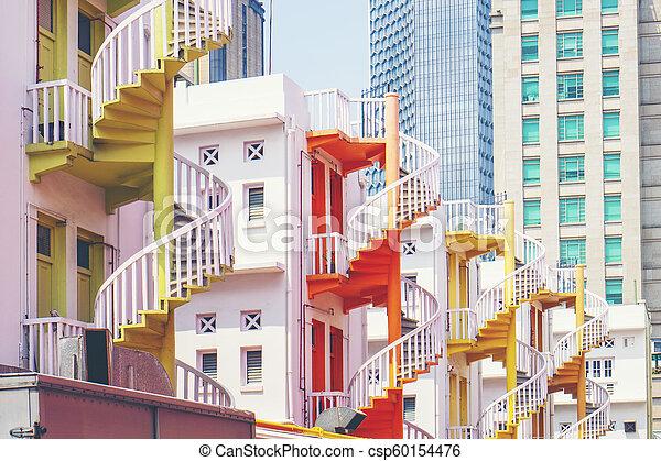 店, 都市, 概念, 中国語, カラフルである, 背中, singapore., らせん状に動きなさい, 伝統的である, 家, 階段, 都市の景観, 村, bugis - csp60154476