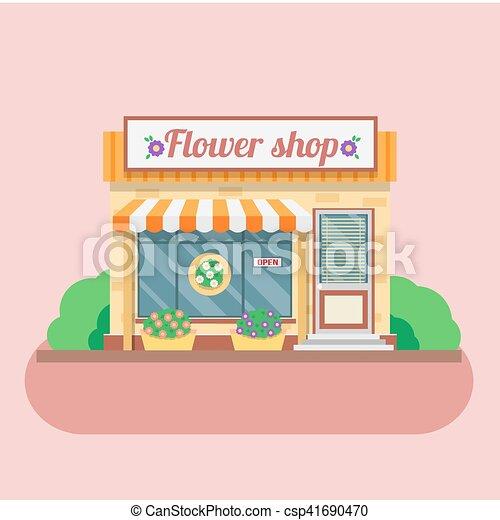 店, facade., ベクトル, 花, イラスト - csp41690470