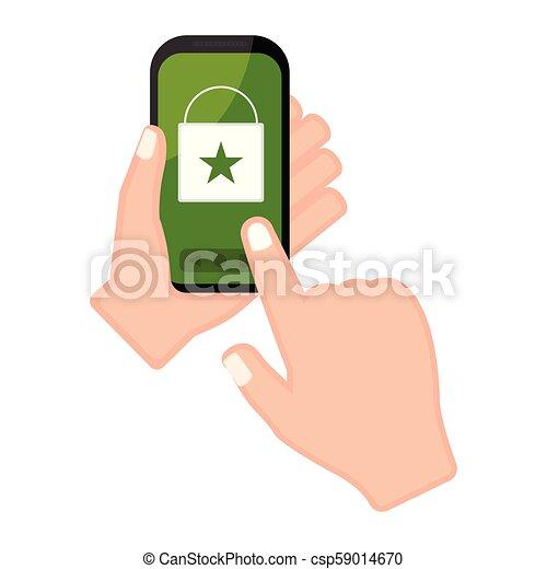 店, smartphone, app, 手の 保有物, オンラインで - csp59014670