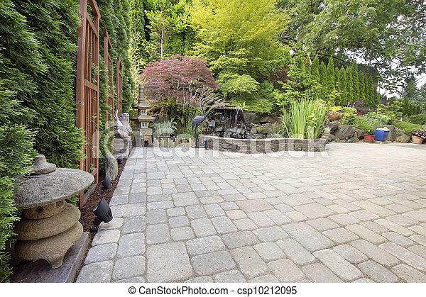 庭, ペーバー, 促される, アジア人, 裏庭, 中庭 - csp10212095