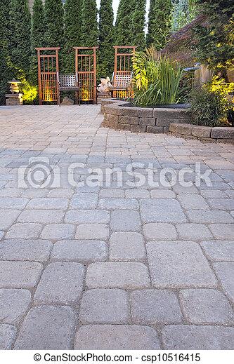 庭, ペーバー, 装飾, ライト, 風景, 中庭 - csp10516415