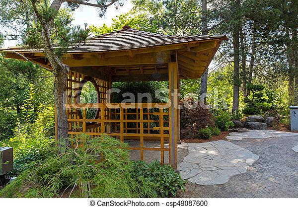 庭, 木製である, 島, 日本語, gazebo, tsuru - csp49087600