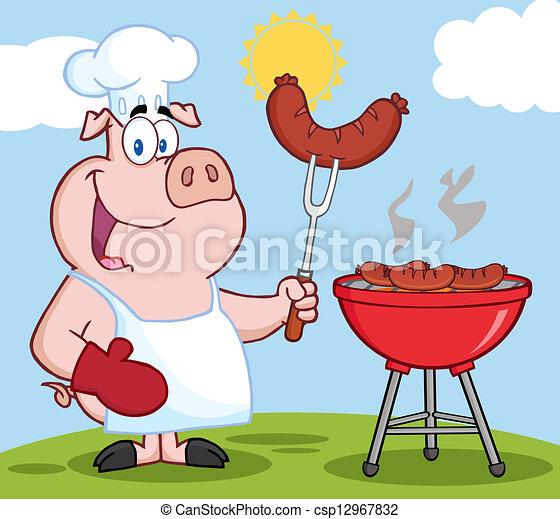 廚師, 烹調, 燒烤野餐, 小山, 豬 - csp12967832